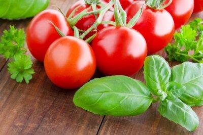 Canvastavlor Tomater och basilika