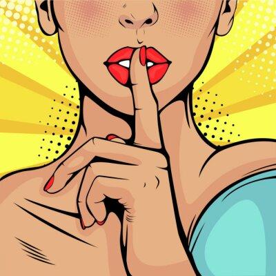 Canvastavlor Top hemliga tystnad tjej. Vacker kvinna lägger fingret mot hennes läppar och kräver tystnad. Färgrik vektor bakgrund i popkonst retro komisk stil.