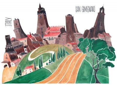 Canvastavlor Toscana kullar. Stiliserad natur och arkitektur i Italien. En illustration av en akvarell.