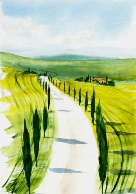 Canvastavlor Toscana landscape. Watercolor illustration
