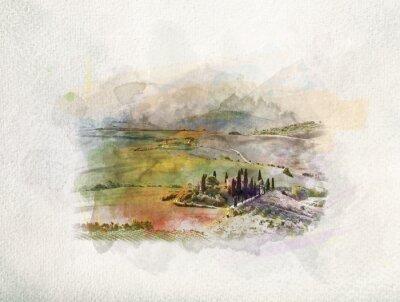 Canvastavlor Toscana landskap vid soluppgång i akvareller.