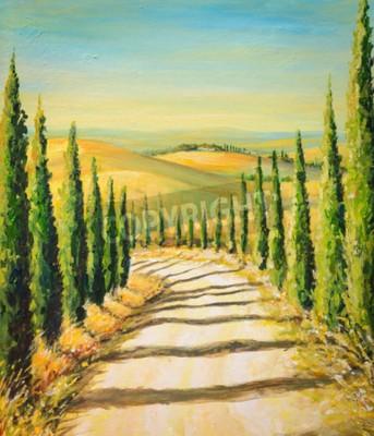 Canvastavlor Toscana: lantligt landskap med väg, fält och kullar. Bild skapad med akrylfärger.
