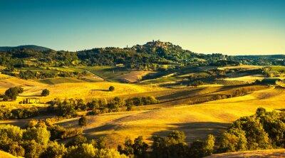 Canvastavlor Toscana sommar, Montepulciano medeltida by. Siena, Italien
