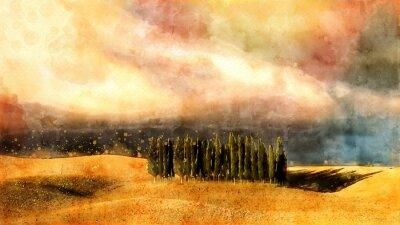 Canvastavlor Toscana vattenfärg lanscape.
