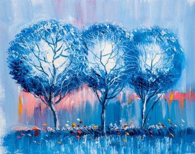 Canvastavlor Träd, oljemålning, konstnärlig bakgrund