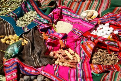 Canvastavlor Tradition Essen auf den Uros Islands - Titicacasee, Peru
