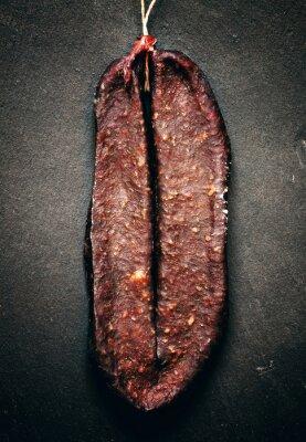 Canvastavlor Traditionell armeniska beef jerky rökt korv sudzhuk med glänsande