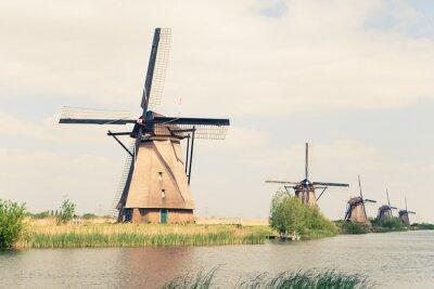 Canvastavlor traditionella väderkvarnar i Nederländerna