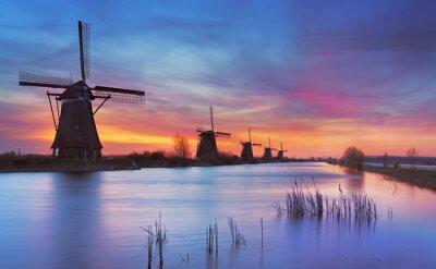 Canvastavlor Traditionella vindkraftverk på soluppgången, Kinderdijk, Nederländerna