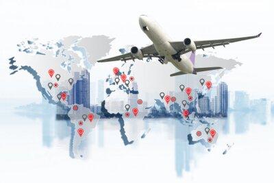 Canvastavlor Transport, import-export och logistik koncept, containertruck, fartyg i hamn och frakt lastplan i transport och import-export kommersiell logistik, fraktbranschen industrin