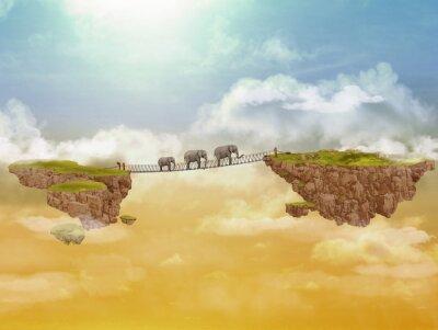 Canvastavlor Tre elefanter. Illustration.
