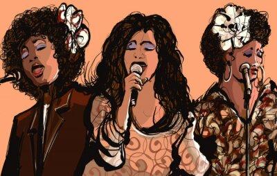Canvastavlor Tre kvinnor jazzsångerskor