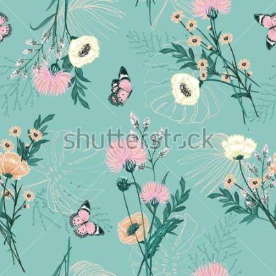 Canvastavlor Trendig pastell av många slags trädgård blomma, växter, botanisk, fjäril, sömlös mönster vektor design för mode, tyg, tapeter och alla utskrifter på grön mint bakgrundsfärg