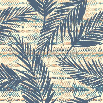 Canvastavlor Tribal etnisk sömlös mönster med palmblad. Vektor bakgrund