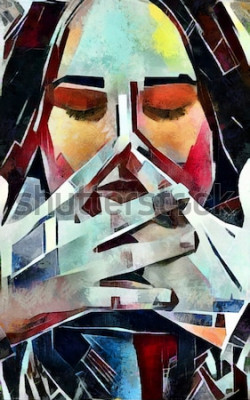 Canvastavlor Triptykstående av en flicka i kubismstil. Bilden är gjord av olja på duk med inslag av pastellmålning.