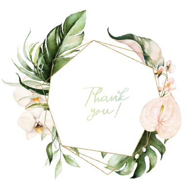 Canvastavlor Tropical exotic watercolor floral geometric frame. Green & gold leaves, blush flowers. For wedding stationary, greetings, wallpaper, fashion, background. Palm fern banana green leaves.