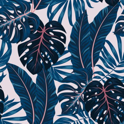 Canvastavlor Tropical seamless pattern with colorful plants. Floral seamless vector tropical pattern background with exotic leaves, jungle leaf. Exotic wallpaper, Hawaiian style. Seamless vector texture.
