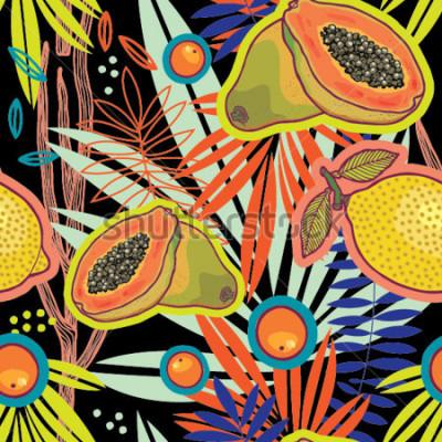 Canvastavlor Tropical summer garden at night vector pattern.
