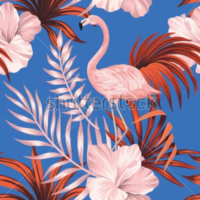 Canvastavlor Tropical vintage pink flamingo, red palm leaves floral seamless pattern blue background. Exotic jungle wallpaper.
