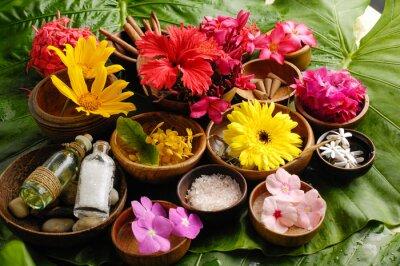 Canvastavlor Tropiska blomman Spa uppsättning