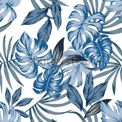 Canvastavlor Tropiska exotiska palm lämnar sömlösa vektormönster i en trendig blå vintage stil. Skriv ut naturmodeillustrationen som målar blom- djungeltapet på en vit bakgrund