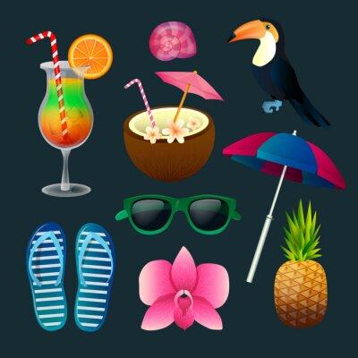 Canvastavlor Tropiska inslag som: Cocktails, blommor, solglasögon, fågel, ananas