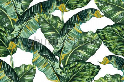 Canvastavlor Tropiska palmblad, djungel löv sömlösa vektor blommönster bakgrund