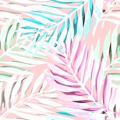 Canvastavlor Tropiskt palmbladmönster. Trendigt tryckdesign med abstrakt djungelblomning. Exotisk sömlös bakgrund. Vektor illustration