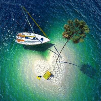 Canvastavlor Tropiskt paradis på en liten ö