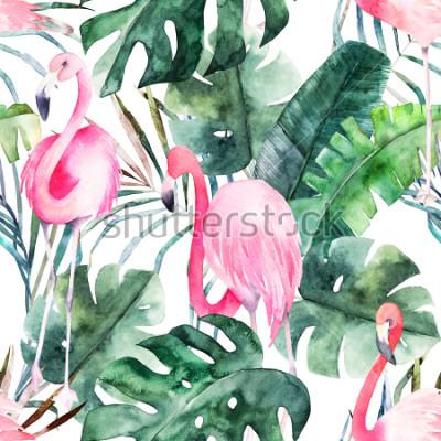 Canvastavlor Tropiskt seamless pattern with flamingo and leaves. Akvarell sommarutskrift. Exotisk handritad illustration