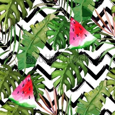Canvastavlor Tropiskt sömlöst mönster. Palmträdslöv och vattenmelon. Handritad illustration. Sommarbakgrund. Akvarell stil