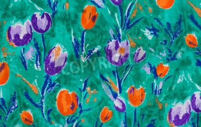 Canvastavlor Tulip tryck tyg närbild bakgrund.