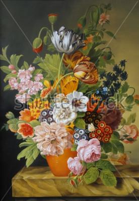 Canvastavlor Tulpaner och rosor i en gammal vas. Vallmor, violer, kamille, tusenskönor. Målning. Fortfarande liv.