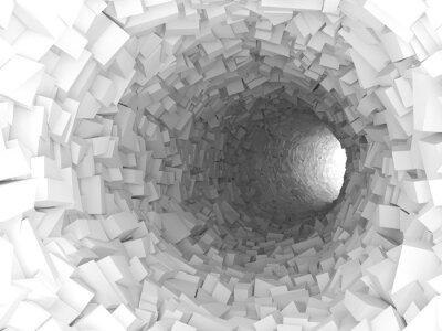 Canvastavlor Tunnel med väggar av kaotiska block 3d