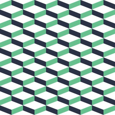 Canvastavlor Turkos geometriska illusion Seamless