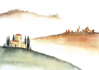 Canvastavlor Tuscan villa and distant hills landscape watercolor painting.