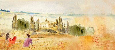 Canvastavlor Tuscany, romantic date. Watercolor