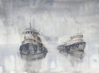 Canvastavlor Två båtar i havet. Dimmigt väder. Regn. Hav. Fishind fartyg.