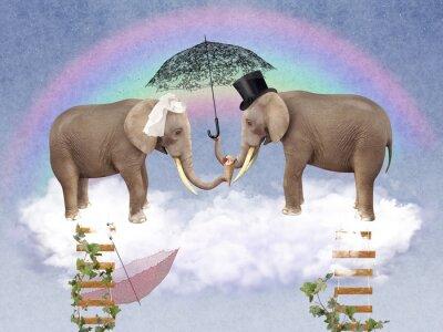 Canvastavlor Två elefanter i kärlek med paraplyer.