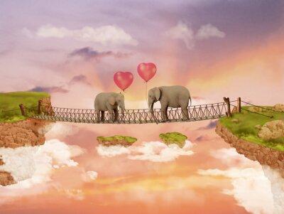 Canvastavlor Två elefanter på en bro i himlen med ballonger. Illustration