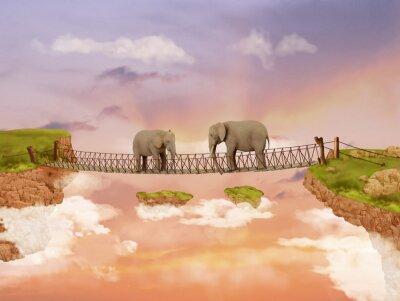 Canvastavlor Två elefanter på en bro på himlen