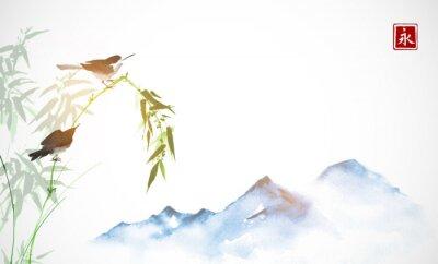 Canvastavlor Två små fåglar, bambufilial och långt blåa berg. Traditionell orientalisk bläckmålning sumi-e, u-sin, go-hua. Hieroglyf - evigheten.