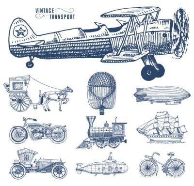 Canvastavlor Ubåt, båt och bil, motorcykel, hästvagn. Luftskepp eller dirigible, luftballong, flygplan corncob, lokomotiv. Graverad hand ritad i gammal skiss stil, vintage passagerare transport.