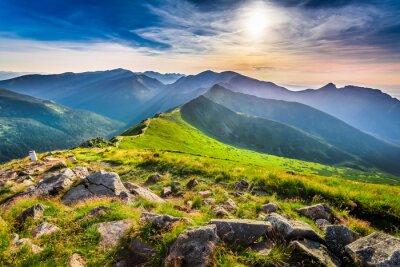 Canvastavlor Underbar solnedgång i fjällen på sommaren