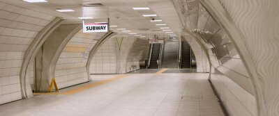 Canvastavlor Underground subway station hallway tunnel with escalator. Abstract perspective view