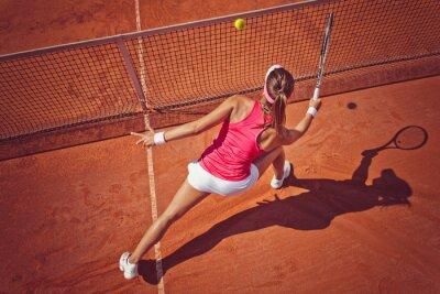 Canvastavlor Ung kvinna som spelar tennis.High vinkel view.Forehand volley.