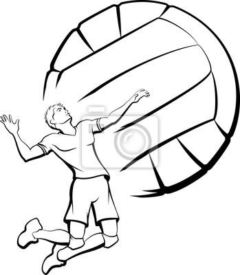 Canvastavlor Ung man redo att spika en volleyboll med en stiliserad volleyboll som bakgrund.