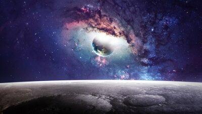Canvastavlor Universum scen med planeter, stjärnor och galaxer i yttre rymden som visar skönheten i utforskning av rymden. Element tillhandahållits av NASA