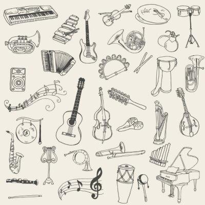 Canvastavlor Uppsättning av musikinstrument - handritad i vektorn