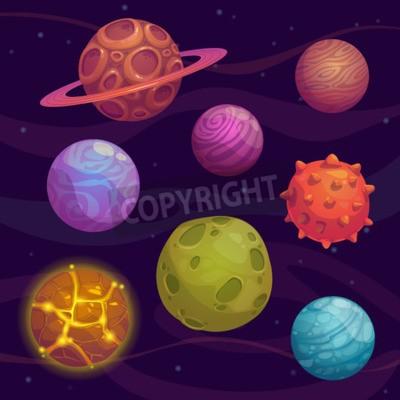 Canvastavlor Uppsättning av tecknad fantastiska planet utrymme bakgrund